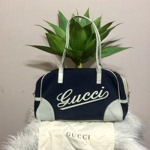 Authentic Gucci blue canvas sports shoulder bag
